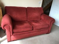 Pair of John Lewis Romsey Medium two seater sofas in red fabric
