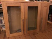 Triple kitchen cupboard with glass doors & lights - pick up from SW9