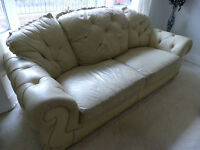 Leather three seater settee and two chairs