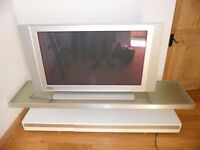 """Phillips Flat tv 43"""" screen with side speakers freeview inc. and remote control. on stand"""