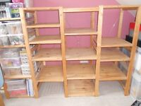 Ikea wooden adjustable wide shelving unit - 19 shelves and 4 upright sides