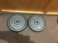 ProFitness 2x 10kg Cast Iron Weights Plates. •Can Deliver•