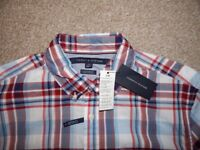 Mens Tommy Hilfiger Red, White and Blue Check Shirt Size Large