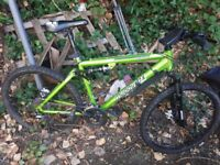 Mountian bike dual suspention hardly used with a lock and phone holder