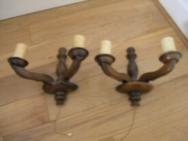 Pair Vintage Solid Dark Wood Twin Wall Lights Weymouth