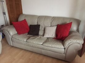 Soft leather sofa and 2 matching chairs