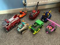 Paw patrol vehicles and pups