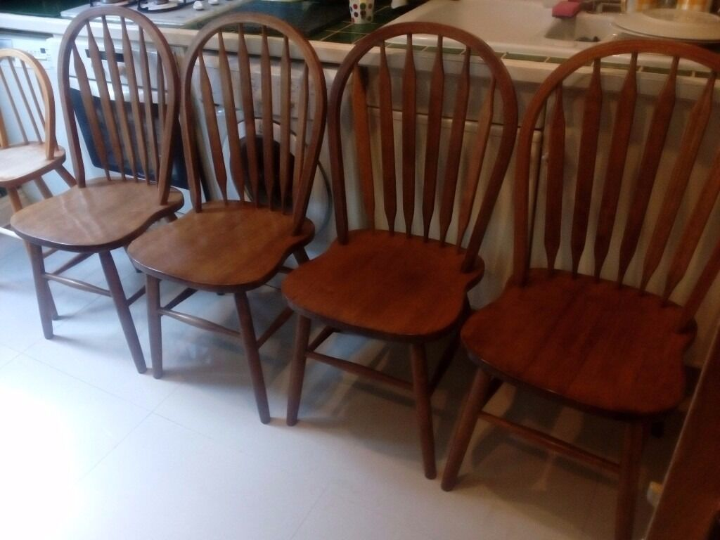 4 X Hard Wood Dining Or Kitchen Chairs Made In Malaysia Plus Child Chair