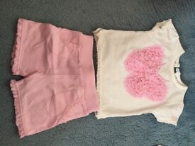 Girls 3-6 months shorts and tshirt sets x2