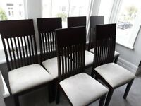 6x Contemporary Large Suede Dining Chairs