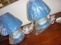Pair Cute Pebble Lamps complete with shades NEW