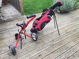 Junior children's kids golf clubs and trolley