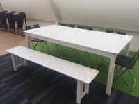 White Garden Table and Bench/ Outside/ Terrace/ Conservatory