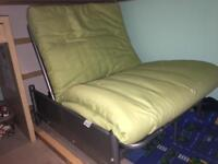 Single folding guest bed futon green