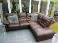 Corner sofa, recliner chair and pouffe