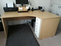 Two office desks and screen