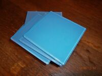 Glass wall tiles size 100 mm x 100 mm. Pretty light catching glass. 80 light blue and 10 white.