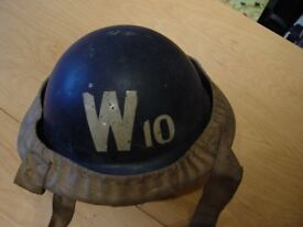 WW2 Warden Helmet with rare No 10 lettering