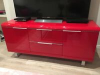 Red Wooden Storage Chest (perfect as a TV stand) - High gloss