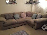 Beige comfy corner sofa and 2 seater