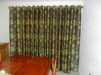 Green/brown curtains 3 pairs 90 x 90 inches.