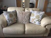 2 seater & 3 seater cream leather sofas