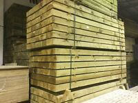 Wooden railway sleepers pressure treated green/brown