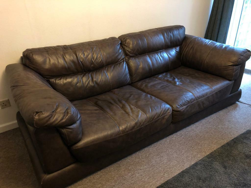 Large Brown Leather Sofa Free In