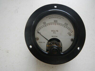 Vintage Radio Equipment Panel Meter Weston 0-200 Dc Volts 3 15 Round Bakelite