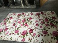 Brand New Shabby Chic Pink Roses on Cream Area Rug