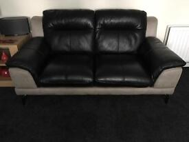 Leather corner sofa group and footstool