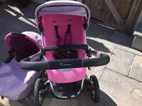Quinny pushchair with carry cot and car seat adaptors