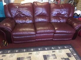3 seat Recliner. BIG VERY COMFY WITH CHARACTER. REAL LEATHER.