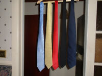 5 TIES, LIGHT BLUE, YELLOW, RED, BLACK and NAVY BLUE, HARDLY WORN, ALL 5 TIES FOR £3