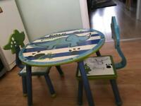 Dinosaur kids table and 2 chairs