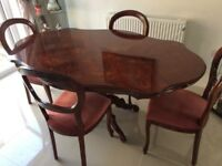 Italian inlaid dining table & chairs - gorgeous set