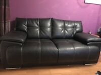 2 real black leather 2 seater sofas