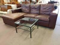 Large brown leather corner sofa suite