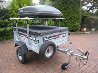 Erde 122 trailer,Roof box,Load bars,Spare wheel,Jockey wheel,Flat cover.