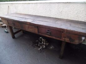 ANTIQUE PINE BENCH TABLE 9FT
