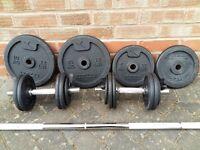 CAST IRON WEIGHTS SET & BAR /DUMBELLS