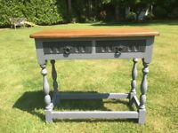 Hand Painted Vintage Oak Small Console Table