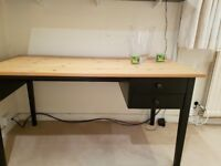pine and black office desk with 2 drawers -£20 BARGAIN SOLD