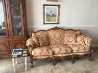 3 PIECE SUITE FRENCH ITALIAN BAROQUE ANTIQUE STYLE SOFA COUCH WITH 2 ARMCHAIRS