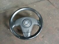 SEAT IBIZA 6L FR LEATHER TRIM STEERING WHEEL WITH AIRBAG