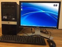 Complete Set HP Dual Core 5Ghz / 4GB Ram / Office + Dell Monitor Windows 7 Desktop PC Computer