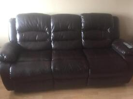 Brown leather 2 & 3 seater recliner sofas