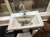 Square sink and pedestal with mixer tap new unused