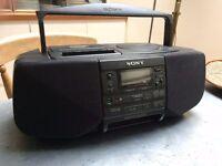 SONY GHETTO BLASTER BOOMBOX CFD-S33L BASS REFLEX CD RADIO TAPE CASSETTE