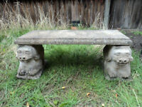 OLD STONE GARDEN BENCH WITH CHINESE DOG SUPPORTS 107cms LONG 90 - Kilos GARDEN DECORATION & SEATING